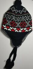 "NEW Fashionable Unisex Black and Red ""Diamond"" Peruvian Winter Hat With Pom Poms"