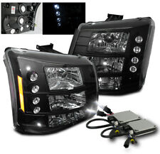 2003-2006 CHEVY SILVERADO AVALANCHE LED HEAD LIGHTS BLACK SET 2IN1+6000K HID KIT