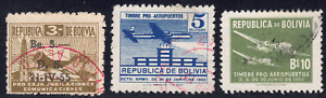 1955 Bolivia SC# RA21RA24 - F - Postal Tax Stamps - 3 Different Stamps - Used