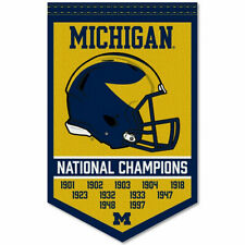 Michigan Wolverines 11 Time Football National Champions Banner Flag