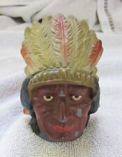 Antique Native American Indian Head Figure Cast Lead Metal Inkwell