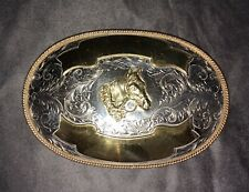 Vintage Extra Large Montana Silversmiths Belt Buckle Horse Head