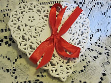 12 💝PCS 4 IN xtra LACEy HEART WHITE PAPER DOILIES CRAFTS love cards FREE SHIP