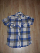 Crafted blue & white checked shirt - M
