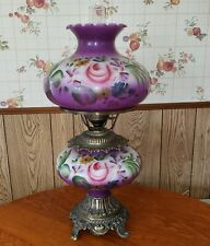 """New listing Vintage Hurricane Lamp Hand Painted Purple Floral Pink Roses 30"""" Tall 1960's"""