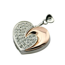 16 Gb Silver Gold Diamante Love Heart Shape Novelty USB Flash Drive Memory Stick