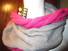 Gray and Fushia  knit cowl neck circle infinity tube scarf  New From Hot Topic