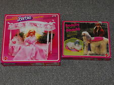 Mattel Barbie 1982 Canopy Bed & 1979 Beauty Dog with Boxes Lot (Missing Pieces)
