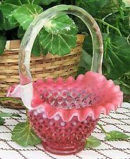 """Fenton ~~ SALE ~~ Cranberry Opalescent Hobnail 8.5"""" Basket Cir 1940's-1960's"""