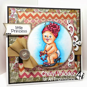 Little Girl & words Little Princess L@@K@examples Art Impressions Rubber Stamps