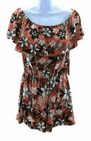 Full Circle Juniors Orange with Black and White Floral Off The Shoulder Romper