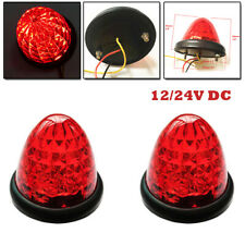 12/24V Pair Red Round LED Marker Lights Clearance 16 LED Lamp Car Truck Trailer