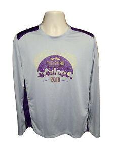 2018 NYRR Midnight Run Mens Large Gray & Purple Jersey