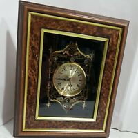 Wall hanging Clock Wood Frame Gold Roman numbers & glass, Working vtg