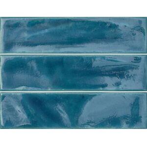 Azzuro Blue Craquele Glass Bumpy Italian Ceramic Wall Tiles 7.5 cm x 30 cm / Sqm