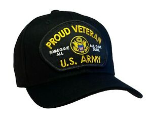 U.S. Army Proud Veteran Hat Some Gave All All Gave Some Black Ball Cap