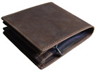 Men's Genuine Leather Pocket Wallet With Zipper Coin Pocket Cow Leather Bifold W