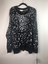 (523) NEW Ava & Viv Animal Print Black Grey Pullover Sweater Plus Size 3X