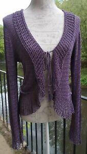 Edina Ronay Vintage Style Purple Lilac Crochet Beaded Summer Shrug/Cardigan M