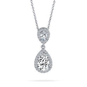 Bridal Pear Cubic Zirconia AAA CZ Teardrop Solitaire Pendant Necklace