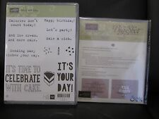 """Stampin Up """"PARTY WITH CAKE"""" Clear Mount Stamp Set & Party Pop-Up Thinlits Dies"""