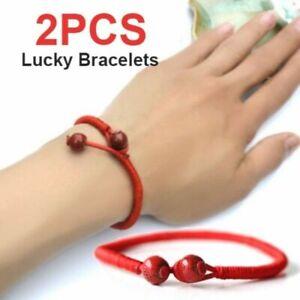 2Pcs Women Men Red Handmade String Beads Lucky Bracelet Bangle Party Jewelry Hot