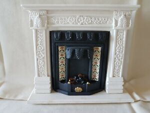 Dolls house artisan Sue Cook fire surround, insert and hearth