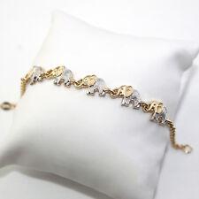 "14k Gold Filled Bracelet Elephant Luck 8"" Adult 2-Tones Pulsera Elefante Suerte"