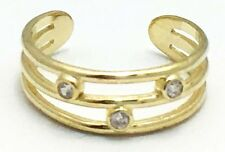 14k Solid Yellow Gold - Adjustable Three Row White Sapphires Toe Ring