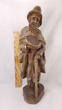 Large Vintage Hand Carved Wood Pilgrim Beggar Saint Figurine 15 3/4'' Tall