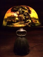 pittsburgh arts crafts reverse painted antique lamp handel bradley hubbard era