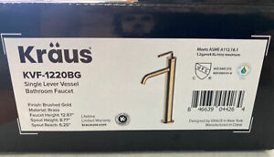 KRAUS Bathroom Faucet 1-Hole Brass Lever Handle Pop-Up Drain Brushed Gold