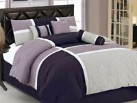 7pcs Medallion Quilted Patchwork Comforter Set Cal King, Lavender Purple Gray