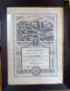 Charles GREINER Diplôme Brasserie du Pêcheur Schiltigheim AMOS Wasselonne 1937