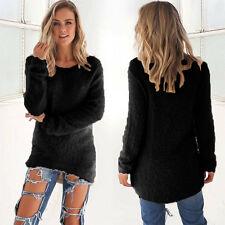 Damen Pullover Langarm Oberteile Freizeit Sweatshirt Pulli Longshirt Winter Tops