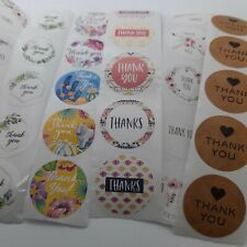 100 Business Stickers Thank You Labels Mixed Designs Round 25mm