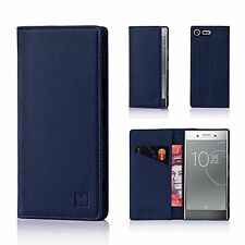 Sony Xperia XZ Premium Wallet Case Leather Cover Card Slot Magnetic Closure Blue