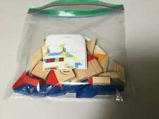 WOOD PATTERN BLOCKS, CREATE YOUR OWN MOSAIC AND FRAME, PRIMARY COLORS
