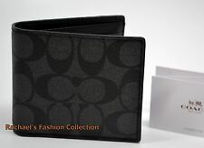 NWT COACH MEN'S COMPACT ID WALLET IN Signature PVC with Leather F74993