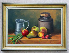 Wonderful original oil still life 'Apples, Pears and wheat' by John Proudfoot