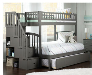 Atlantic Furniture Westbrook Twin over Full Bunk Bed with Trundle in Gray