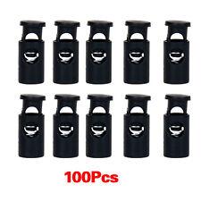100pcs Black Cylinder Barrel Cordlock Cord Lock Toggles Stopper WS U4m7