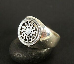 Viking Black Sun Ring, 925 silver signet sing, Slavic Sun Wheel Ring