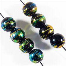 Lot de 50 perles en verre Décorées 6mm Noir Doré