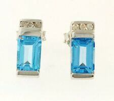 9Carat White Gold Emerald Cut Blue Topaz and Diamond Stud Earrings (4x10mm)