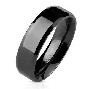 Mens Black STAINLESS STEEL Ring Band Beveled Edge Wedding UK SELLER Couple (11JB