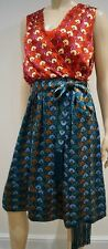 TORY BURCH Red & Blue Green DARYA Pleated Sleeveless Belted Dress UK12 BNWT