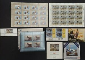 CANADA DUCK STAMPS 1985/89 sheets, Blks, singles, NH, orig sold for C$228 ($182)