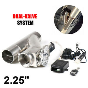 """2.25"""" 57mm Electric Exhaust Dual Valve Cut out Downpipe Y Pipe + Wireless Remote"""