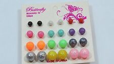 Ball Sphere stud earring set 12 pr Sparkle party favors Fun assorted sizes A